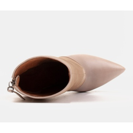 Marco Shoes Botki damskie na szpilce w połączeniu skóry i zamszu beżowy 4