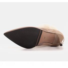 Marco Shoes Botki damskie na szpilce w połączeniu skóry i zamszu beżowy 6