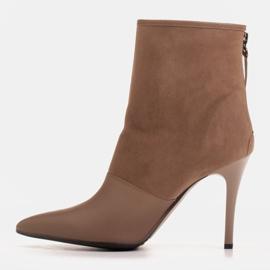 Marco Shoes Botki damskie na szpilce w połączeniu skóry i zamszu beżowy 2