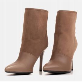 Marco Shoes Botki damskie na szpilce w połączeniu skóry i zamszu beżowy 5