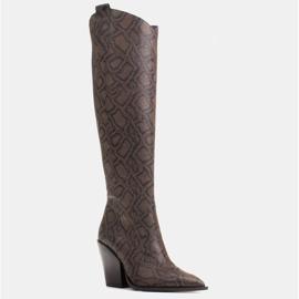 Marco Shoes Wysokie kozaki damskie kowbojki z naturalnej skóry brązowe 1