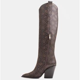Marco Shoes Wysokie kozaki damskie kowbojki z naturalnej skóry brązowe 6