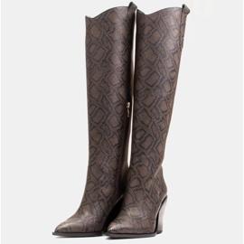 Marco Shoes Wysokie kozaki damskie kowbojki z naturalnej skóry brązowe 3
