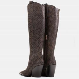 Marco Shoes Wysokie kozaki damskie kowbojki z naturalnej skóry brązowe 4