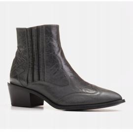 Marco Shoes Szare kowbojki z naturalnej skóry licowej bez ocieplenia 1