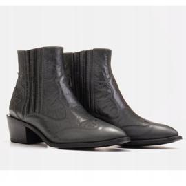 Marco Shoes Szare kowbojki z naturalnej skóry licowej bez ocieplenia 4