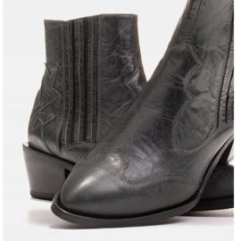 Marco Shoes Szare kowbojki z naturalnej skóry licowej bez ocieplenia 5