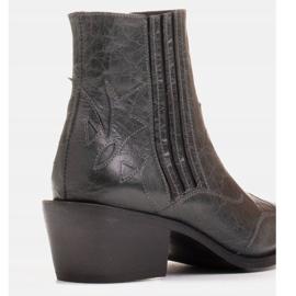 Marco Shoes Szare kowbojki z naturalnej skóry licowej bez ocieplenia 6