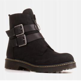 Marco Shoes Czarne botki damskie na grubym spodzie przeźroczystym 1