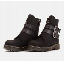 Marco Shoes Czarne botki damskie na grubym spodzie przeźroczystym 4