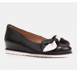 Marco Shoes Komfortowe półbuty z ukrytym klinem podwyższającym czarne 2