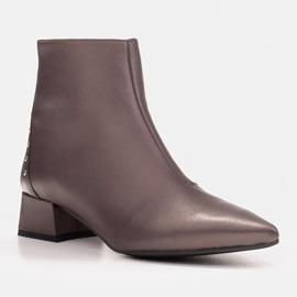 Marco Shoes Botki Marco 1653b na niskim obcasie w skórze brązowe 2
