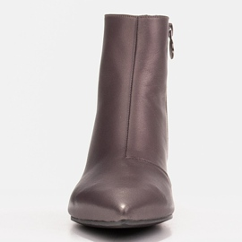 Marco Shoes Botki Marco 1653b na niskim obcasie w skórze brązowe 1