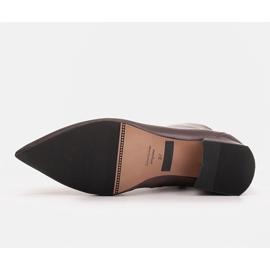 Marco Shoes Botki Marco 1653b na niskim obcasie w skórze brązowe 8
