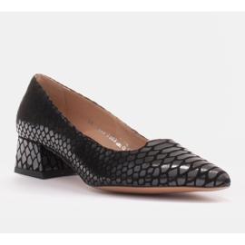 Marco Shoes Czółenka damskie z ciekawą skórą na niskim obcasie czarne 1