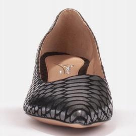 Marco Shoes Czółenka damskie z ciekawą skórą na niskim obcasie czarne 5