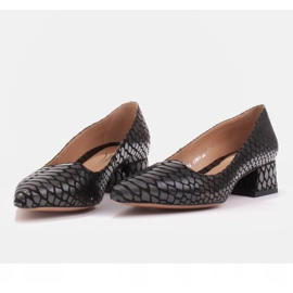 Marco Shoes Czółenka damskie z ciekawą skórą na niskim obcasie czarne 2