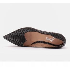 Marco Shoes Czółenka damskie z ciekawą skórą na niskim obcasie czarne 3