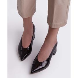 Marco Shoes Eleganckie czarne czółenka damskie z lakieru 4