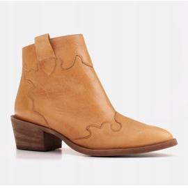 Marco Shoes Żółte botki z nieregularnie marszczonej skóry naturalnej 1