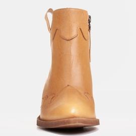 Marco Shoes Żółte botki z nieregularnie marszczonej skóry naturalnej 2