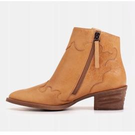 Marco Shoes Żółte botki z nieregularnie marszczonej skóry naturalnej 3
