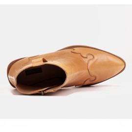 Marco Shoes Żółte botki z nieregularnie marszczonej skóry naturalnej 6