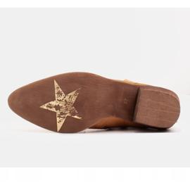 Marco Shoes Żółte botki z nieregularnie marszczonej skóry naturalnej 7