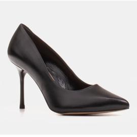 Marco Shoes Czarne szpilki z miękkiej skóry licowej na wysokim obcasie 1