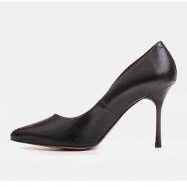 Marco Shoes Czarne szpilki z miękkiej skóry licowej na wysokim obcasie 3