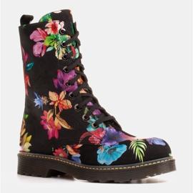 Marco Shoes Wysokie trzewiki, glany wiązane z nubuku z nadrukiem kwiatowym czarne wielokolorowe 1
