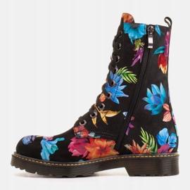 Marco Shoes Wysokie trzewiki, glany wiązane z nubuku z nadrukiem kwiatowym czarne wielokolorowe 2