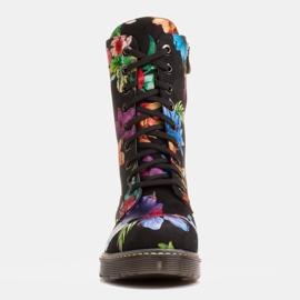 Marco Shoes Wysokie trzewiki, glany wiązane z nubuku z nadrukiem kwiatowym czarne wielokolorowe 3
