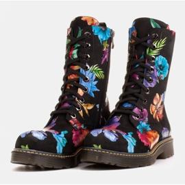Marco Shoes Wysokie trzewiki, glany wiązane z nubuku z nadrukiem kwiatowym czarne wielokolorowe 4