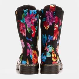 Marco Shoes Wysokie trzewiki, glany wiązane z nubuku z nadrukiem kwiatowym czarne wielokolorowe 7