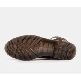 Marco Shoes Wysokie trzewiki, glany wiązane z nubuku z nadrukiem kwiatowym czarne wielokolorowe 5