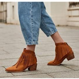 Marco Shoes Jasno brązowe kowbojki z naturalnego zamszu z frędzlami pomarańczowe 8