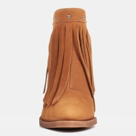 Marco Shoes Jasno brązowe kowbojki z naturalnego zamszu z frędzlami pomarańczowe 1