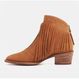 Marco Shoes Jasno brązowe kowbojki z naturalnego zamszu z frędzlami pomarańczowe 5