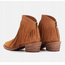 Marco Shoes Jasno brązowe kowbojki z naturalnego zamszu z frędzlami pomarańczowe 3
