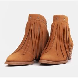 Marco Shoes Jasno brązowe kowbojki z naturalnego zamszu z frędzlami pomarańczowe 4