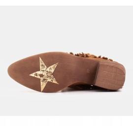 Marco Shoes Jasno brązowe kowbojki z naturalnego zamszu z frędzlami pomarańczowe 6