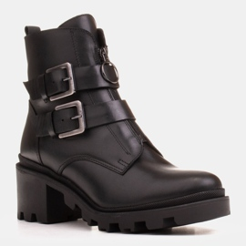 Marco Shoes Czarne botki skórzane na grubej i lekkiej podeszwie 1