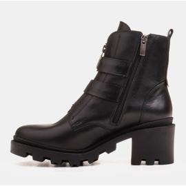Marco Shoes Czarne botki skórzane na grubej i lekkiej podeszwie 7