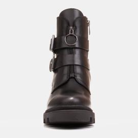 Marco Shoes Czarne botki skórzane na grubej i lekkiej podeszwie 2