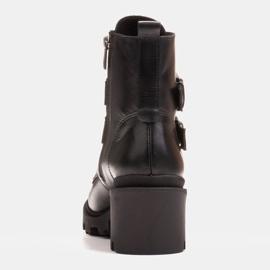 Marco Shoes Czarne botki skórzane na grubej i lekkiej podeszwie 3