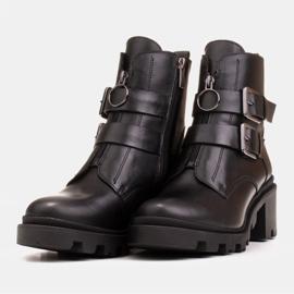 Marco Shoes Czarne botki skórzane na grubej i lekkiej podeszwie 4