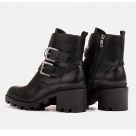 Marco Shoes Czarne botki skórzane na grubej i lekkiej podeszwie 5