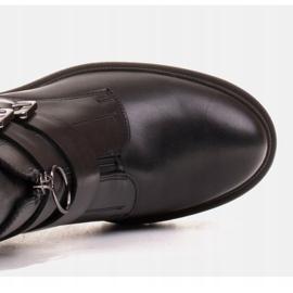 Marco Shoes Czarne botki skórzane na grubej i lekkiej podeszwie 8
