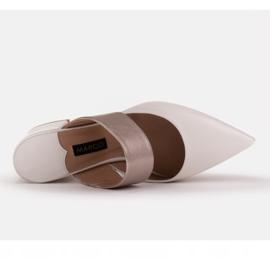 Marco Shoes Eleganckie klapki damskie na lato beżowy białe 6
